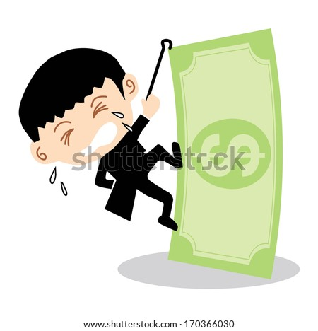Businessman Climbing Banknote - stock vector