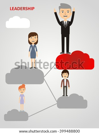 businessman climbing clouds