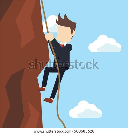 businessman climbing from cliff