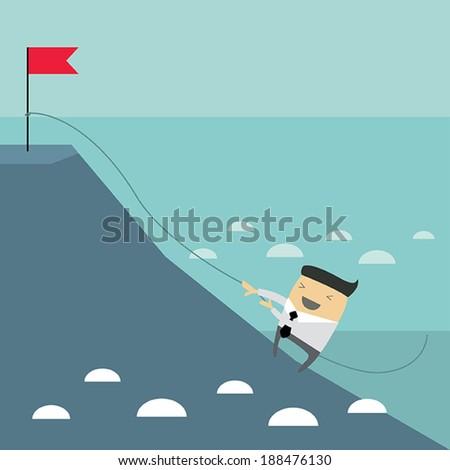 Businessman climbing hill. Hard work, business success concept. Vector illustration - stock vector