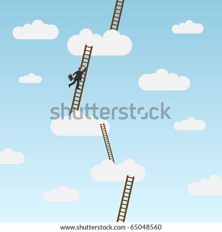 Businessman climbing ladder, carrying briefcase. Vector illustration - stock vector