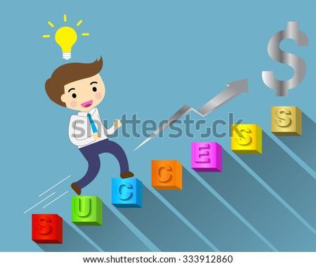 Businessman climbing ladder to Success. Vector illustration.  - stock vector