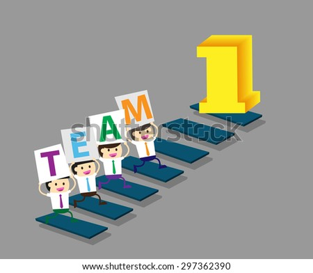 Businessman climbing ladder to Success. Vector illustration. Businessman climbing to goal. Motivation concept to be successful. winner. finish. win. flat design. graph. team, teamwork - stock vector
