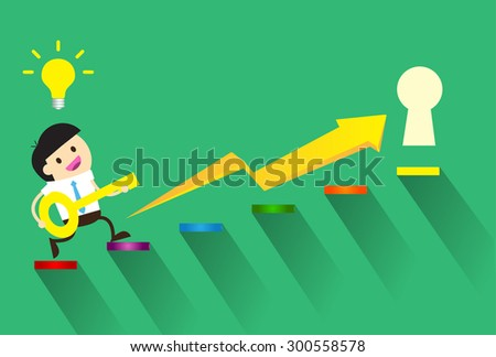 Businessman climbing ladder to Success. Vector illustration. Businessman climbing to goal. Motivation concept to be successful. winner. finish. win.flat design. graph, infographics. key to Success - stock vector