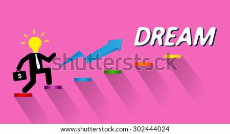 Businessman climbing ladder to Success. Vector illustration. Businessman climbing to goal. Motivation concept to be successful. winner. finish. win. flat design. graph. idea light bulb. dream - stock vector