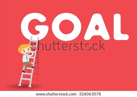 Businessman climbing ladder to Success. Vector illustration. Businessman climbing to goal. Motivation concept to be successful. winner. finish. win. flat design. red background
