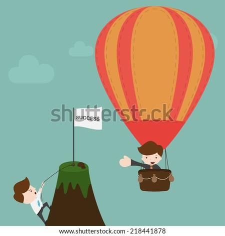 Businessman climbing on the mountain. - stock vector