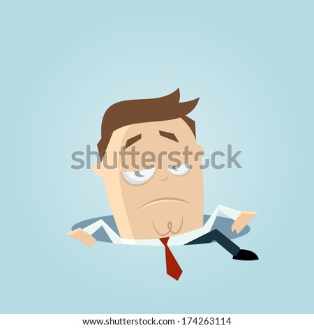 businessman climbing out of a hole - stock vector