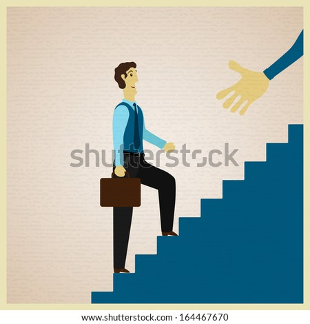 businessman climbing stairs and partner holds out his hand, vector illustration - stock vector