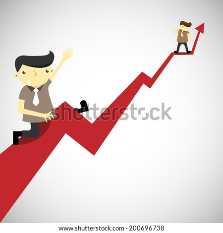 Businessman climbing to higher profit graph. business concept. vector
