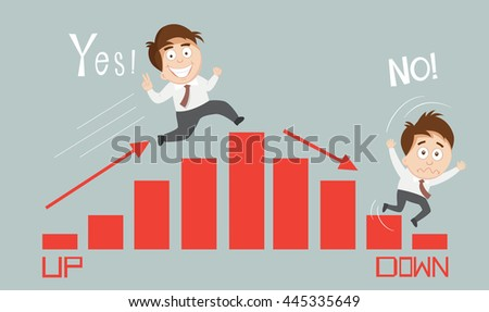 Businessman climbing down graph chart vector stock vector - Table up down extensible ...