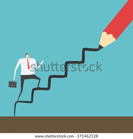 Businessman climbing up the ladder line draw by red pencil - stock vector