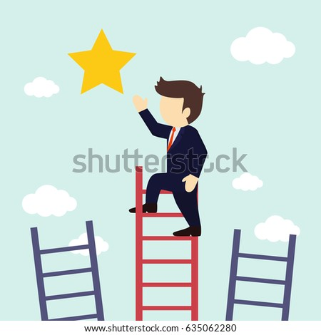 Businessman climbs the stairs to get a star. Vector illustration.