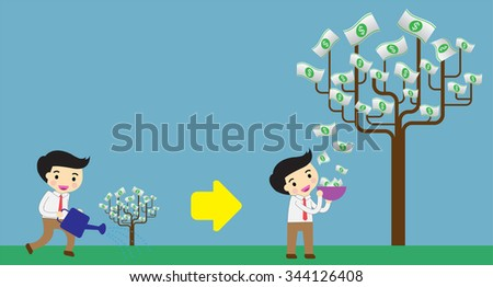 businessman collect money dollar by tree. interest and dividend concept. idea business. - stock vector