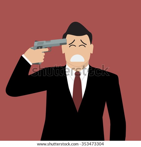Businessman committing suicide. Businessman pointing a gun at his head - stock vector