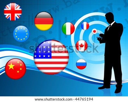 Businessman communication background with internet flag background Original Vector Illustration