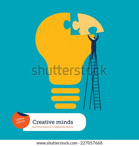 Businessman completing a bulb puzzle. Vector illustration Eps10 file. Global colors. Text and Texture in separate layers. - stock vector