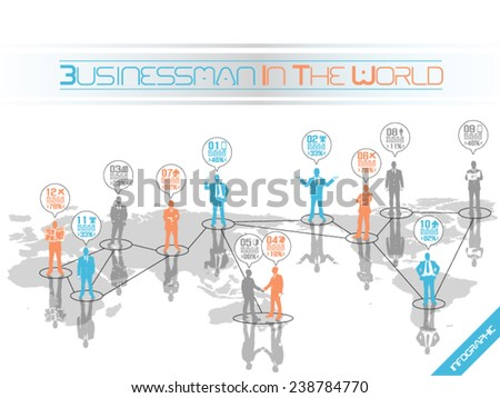 BUSINESSMAN CONCEPT BUSINESS WORLD ORANGE - stock vector