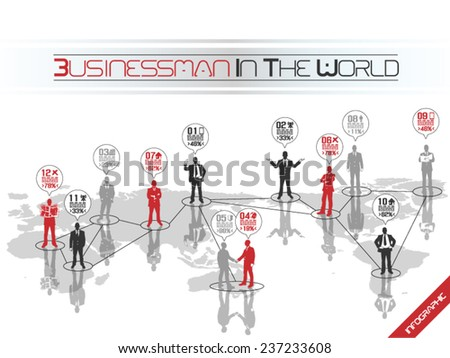 BUSINESSMAN CONCEPT BUSINESS WORLD RED - stock vector
