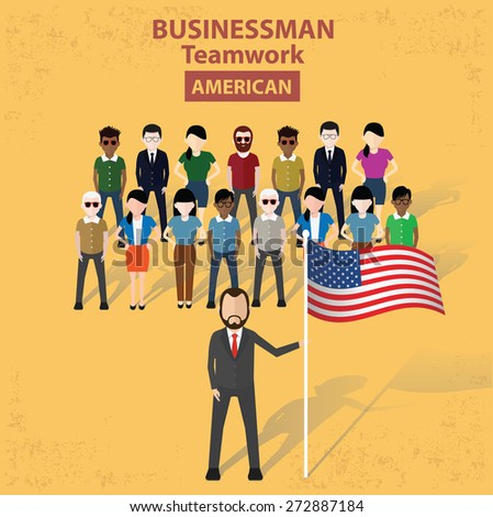 Businessman concept design on yellow background, clean vector. - stock vector