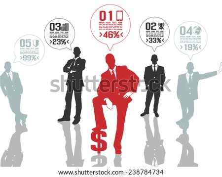 BUSINESSMAN CONCEPT OPTIONS 2 RED - stock vector