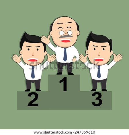 businessman concept  (winners businessmen stand on a podium) - stock vector
