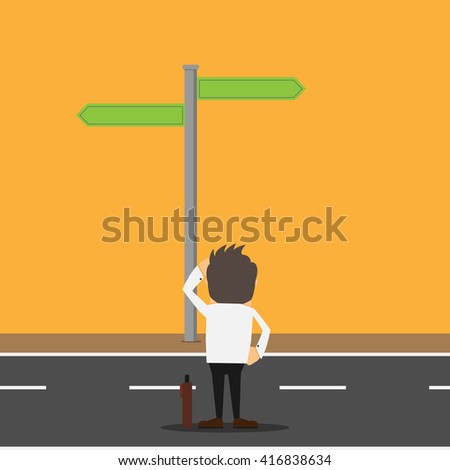 Businessman Confused On Crossroad - stock vector