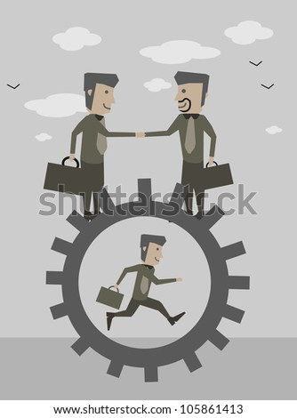 businessman cooperation run on cogs
