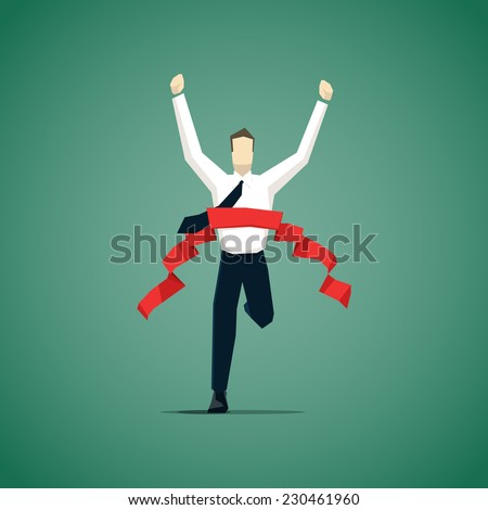 Businessman crossing finish line, he is won a competition  - stock vector
