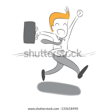 Businessman crossing the finish line ,Vector Eps10 - stock vector