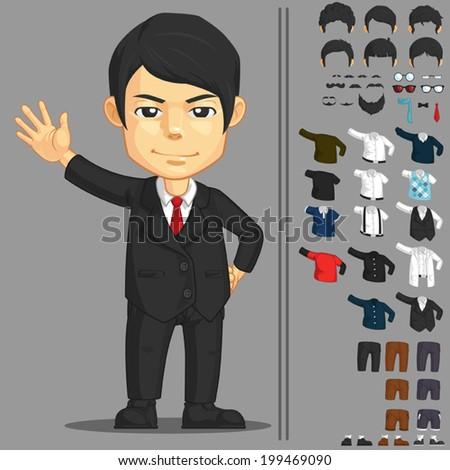 Businessman Customizable Character - stock vector
