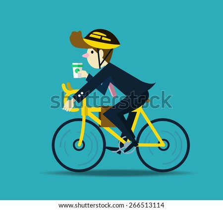 Businessman cycling to work. flat design character. vector - stock vector