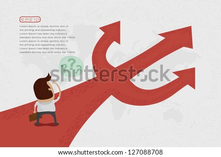 Businessman do not know where to go , eps10 vector format - stock vector