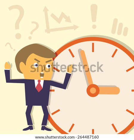 Businessman does not meet the deadline. Contemporary business concept. Vector character illustration.