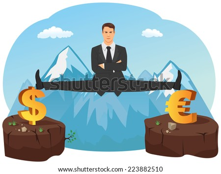 Businessman doing splits on symbols of currencies. The abyss is under him. - stock vector