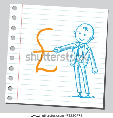 Businessman drawing pound symbol