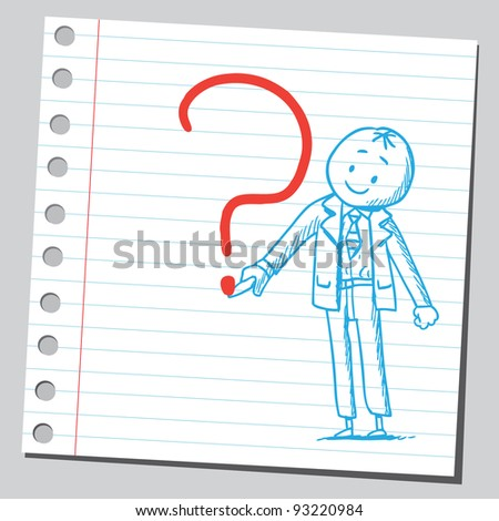 Businessman drawing question mark - stock vector