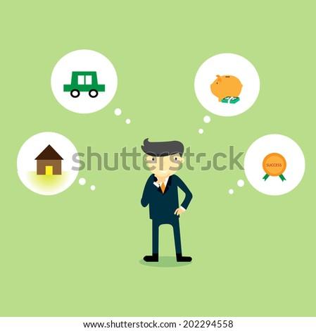 Businessman dream  - stock vector