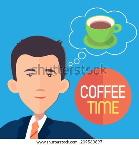 businessman dreaming about a cup of coffee - flat design vector