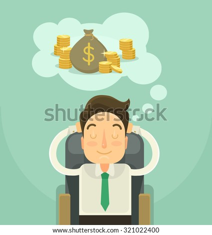 Businessman dreaming about money. Vector flat illustration - stock vector
