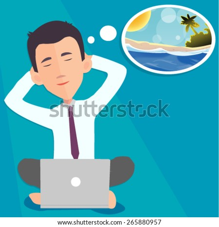 businessman dreaming about vacation