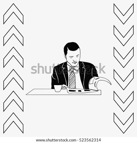 Businessman drinking coffee and tea while reading the newspaper.
