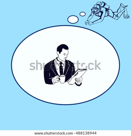 Businessman drinking coffee and tea while reading the newspaper. Vector illustration.