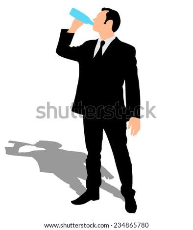 Businessman drinking water, vector  - stock vector
