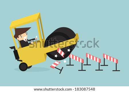Businessman driving a road roller over an obstacle - stock vector