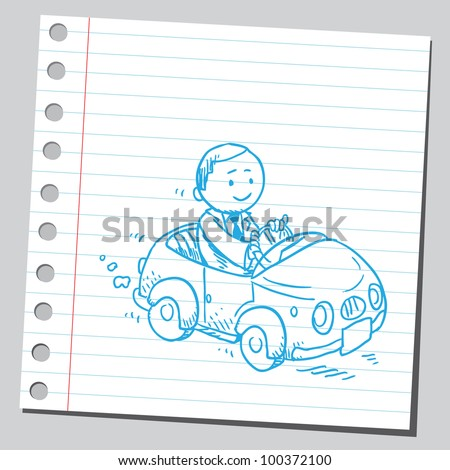 Businessman driving funny car - stock vector
