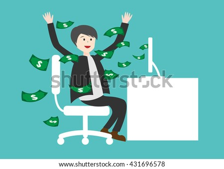 Businessman Earning Lots Of Cash In Internet . online business - stock vector