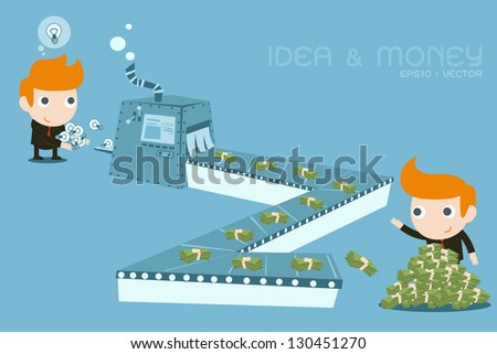 businessman earning Money from ideas - stock vector