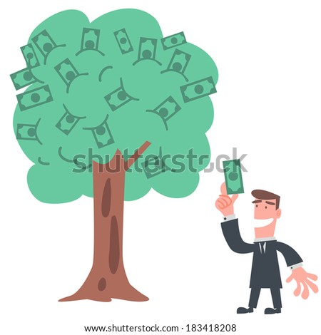 Businessman Earning Money from The Tree