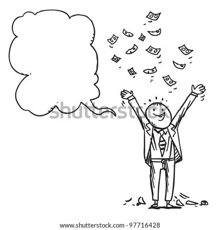 Businessman earning money speaking something - stock vector